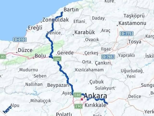 Kırıkkale Bartın Arası Kaç Km - Kaç Saat? Arası Kaç Km Saat? Nerede Yol Haritası Yakıt, Rota ve Mesafe Hesaplama