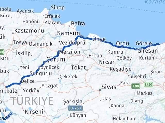 Kırıkkale Beşikdüzü Trabzon Arası Kaç Km? - Kmhesaplama.com Arası Kaç Km Saat? Nerede Yol Haritası Yakıt, Rota ve Mesafe Hesaplama