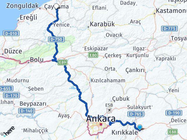 Kırıkkale Çaycuma Zonguldak Arası Kaç Km? - Kmhesaplama.com Arası Kaç Km Saat? Nerede Yol Haritası Yakıt, Rota ve Mesafe Hesaplama
