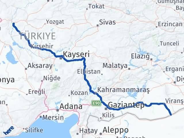Kırıkkale Ceylanpınar Şanlıurfa Arası Kaç Km? Arası Kaç Km Saat? Nerede Yol Haritası Yakıt, Rota ve Mesafe Hesaplama