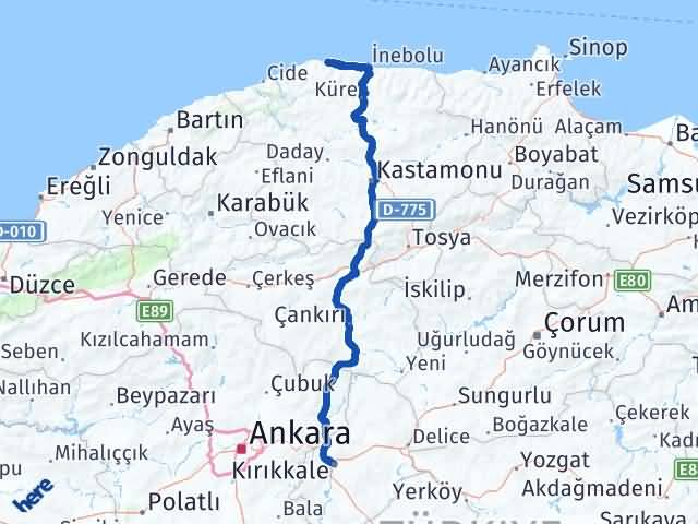 Kırıkkale Doğanyurt Kastamonu Arası Kaç Km? Arası Kaç Km Saat? Nerede Yol Haritası Yakıt, Rota ve Mesafe Hesaplama