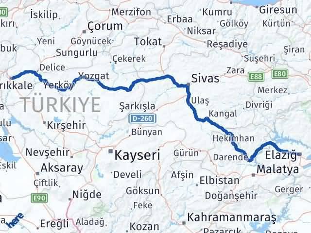 Kırıkkale Elazığ Arası Kaç Km - Kaç Saat? Arası Kaç Km Saat? Nerede Yol Haritası Yakıt, Rota ve Mesafe Hesaplama