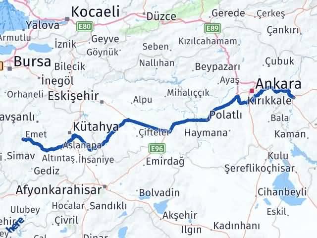 Kırıkkale Emet Kütahya Arası Kaç Km? - Kmhesaplama.com Arası Kaç Km Saat? Nerede Yol Haritası Yakıt, Rota ve Mesafe Hesaplama