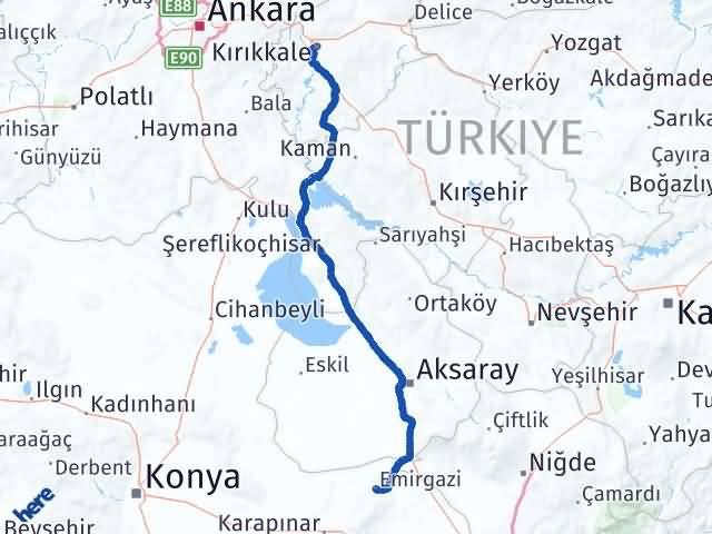 Kırıkkale Emirgazi Konya Arası Kaç Km? - Kmhesaplama.com Arası Kaç Km Saat? Nerede Yol Haritası Yakıt, Rota ve Mesafe Hesaplama