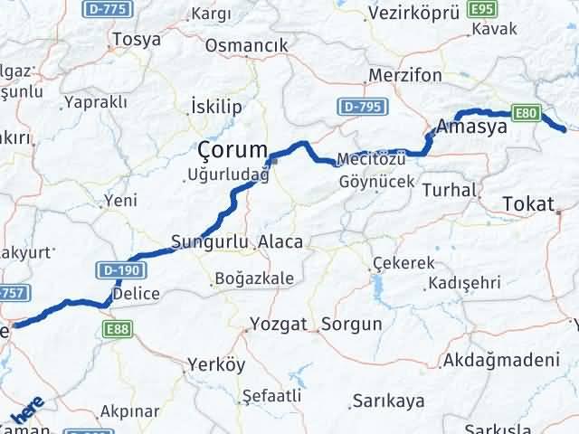 Kırıkkale Erbaa Tokat Arası Kaç Km? - Kmhesaplama.com Arası Kaç Km Saat? Nerede Yol Haritası Yakıt, Rota ve Mesafe Hesaplama