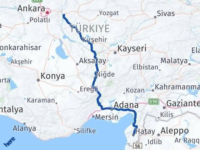 Kırıkkale Hatay Arası Kaç Km - Kaç Saat? Arası Kaç Km Saat? Nerede Yol Haritası Yakıt, Rota ve Mesafe Hesaplama