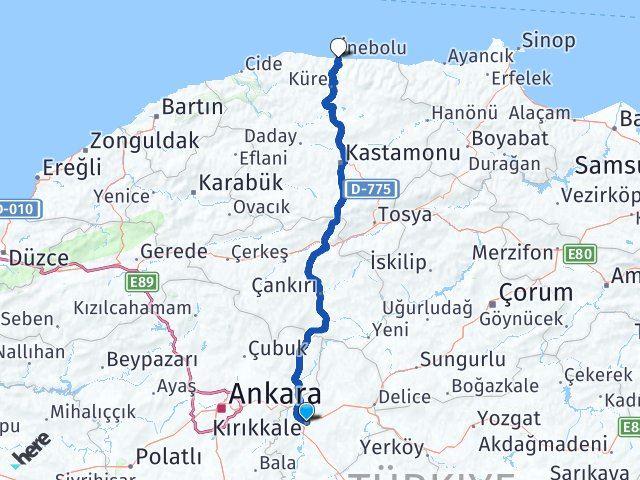 Kırıkkale İnebolu Kastamonu Arası Kaç Km? - Kmhesaplama.com Arası Kaç Km Saat? Nerede Yol Haritası Yakıt, Rota ve Mesafe Hesaplama