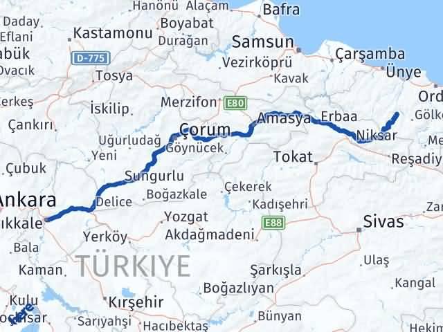 Kırıkkale Kabataş Ordu Arası Kaç Km? - Kmhesaplama.com Arası Kaç Km Saat? Nerede Yol Haritası Yakıt, Rota ve Mesafe Hesaplama