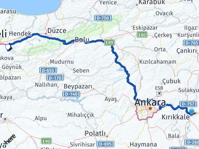 Kırıkkale Karapürçek Sakarya Arası Kaç Km? Arası Kaç Km Saat? Nerede Yol Haritası Yakıt, Rota ve Mesafe Hesaplama