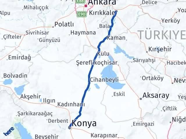 Kırıkkale Karatay Konya Arası Kaç Km? - Kmhesaplama.com Arası Kaç Km Saat? Nerede Yol Haritası Yakıt, Rota ve Mesafe Hesaplama