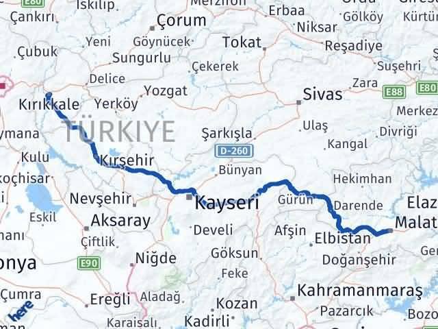 Kırıkkale Malatya Arası Kaç Km - Kaç Saat? Arası Kaç Km Saat? Nerede Yol Haritası Yakıt, Rota ve Mesafe Hesaplama