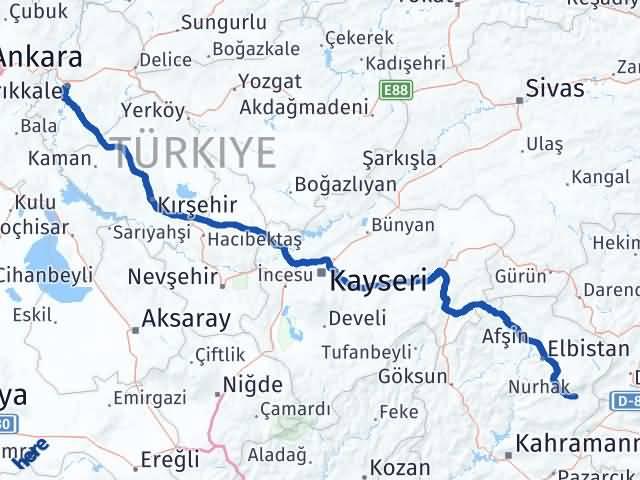 Kırıkkale Nurhak Maraş Arası Kaç Km? - Kmhesaplama.com Arası Kaç Km Saat? Nerede Yol Haritası Yakıt, Rota ve Mesafe Hesaplama