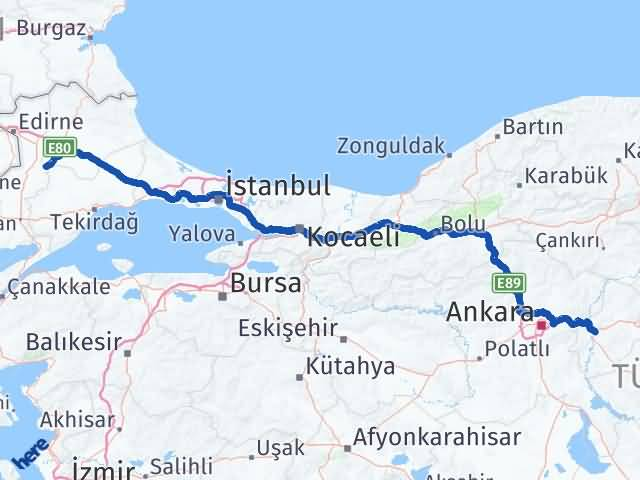 Kırıkkale Pehlivanköy Kırklareli Arası Kaç Km? Arası Kaç Km Saat? Nerede Yol Haritası Yakıt, Rota ve Mesafe Hesaplama