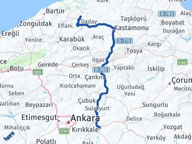 Kırıkkale Pınarbaşı Kastamonu Arası Kaç Km? Arası Kaç Km Saat? Nerede Yol Haritası Yakıt, Rota ve Mesafe Hesaplama
