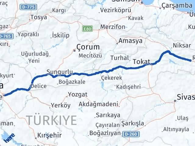 Kırıkkale Reşadiye Tokat Arası Kaç Km? - Kmhesaplama.com Arası Kaç Km Saat? Nerede Yol Haritası Yakıt, Rota ve Mesafe Hesaplama