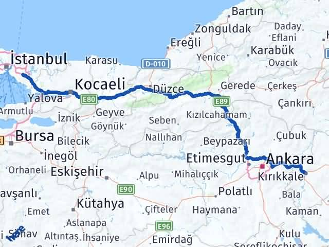 Kırıkkale Sancaktepe İstanbul Arası Kaç Km? Arası Kaç Km Saat? Nerede Yol Haritası Yakıt, Rota ve Mesafe Hesaplama