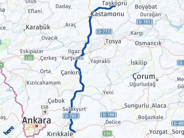 Kırıkkale Taşköprü Kastamonu Arası Kaç Km? Arası Kaç Km Saat? Nerede Yol Haritası Yakıt, Rota ve Mesafe Hesaplama