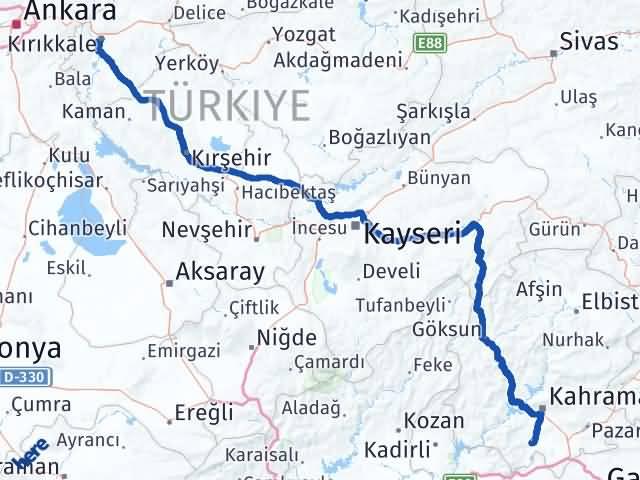 Kırıkkale Türkoğlu Maraş Arası Kaç Km? - Kmhesaplama.com Arası Kaç Km Saat? Nerede Yol Haritası Yakıt, Rota ve Mesafe Hesaplama