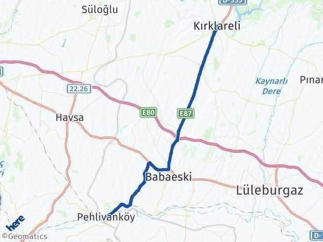 Kırklareli Pehlivanköy Arası Kaç Km? Yol Haritası - Km Hesaplama Arası Kaç Km Saat? Nerede Yol Haritası Yakıt, Rota ve Mesafe Hesaplama