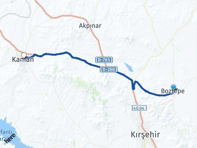 Kırşehir Boztepe Kaman Arası Kaç Km? Arası Kaç Km Saat? Nerede Yol Haritası Yakıt, Rota ve Mesafe Hesaplama