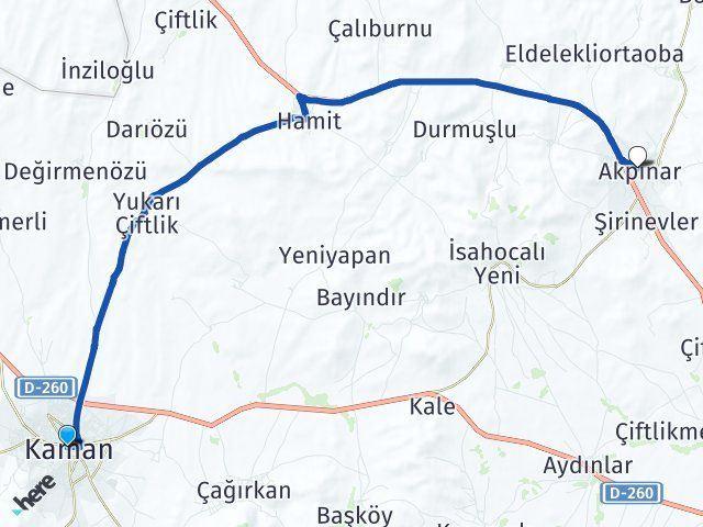Kırşehir Kaman Akpınar Arası Kaç Km? Arası Kaç Km Saat? Nerede Yol Haritası Yakıt, Rota ve Mesafe Hesaplama
