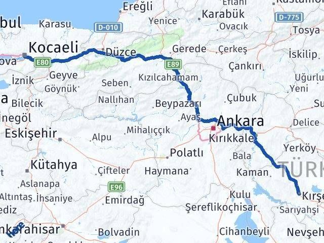 Kırşehir Kocaeli Arası Kaç Km - Kaç Saat? Arası Kaç Km Saat? Nerede Yol Haritası Yakıt, Rota ve Mesafe Hesaplama