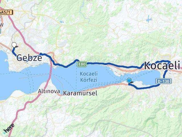 Kocaeli Gölcük Çayırova Arası Kaç Km? Arası Kaç Km Saat? Nerede Yol Haritası Yakıt, Rota ve Mesafe Hesaplama