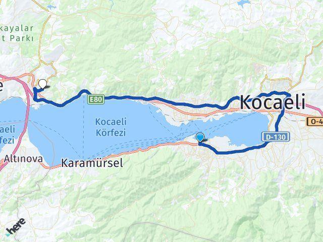 Kocaeli Gölcük Dilovası Arası Kaç Km? Arası Kaç Km Saat? Nerede Yol Haritası Yakıt, Rota ve Mesafe Hesaplama