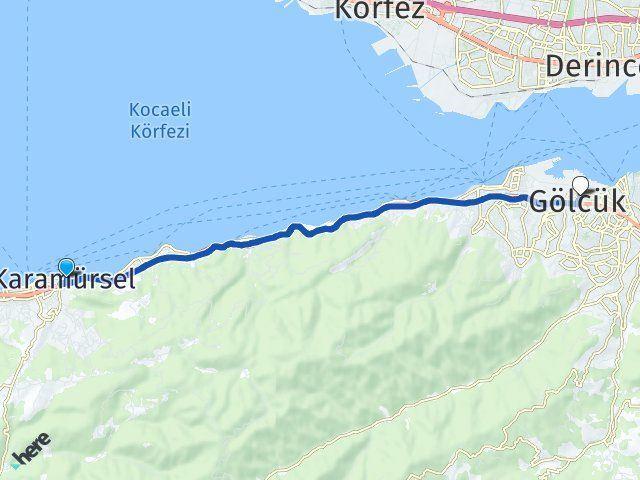 Kocaeli Karamürsel Gölcük Arası Kaç Km? Arası Kaç Km Saat? Nerede Yol Haritası Yakıt, Rota ve Mesafe Hesaplama