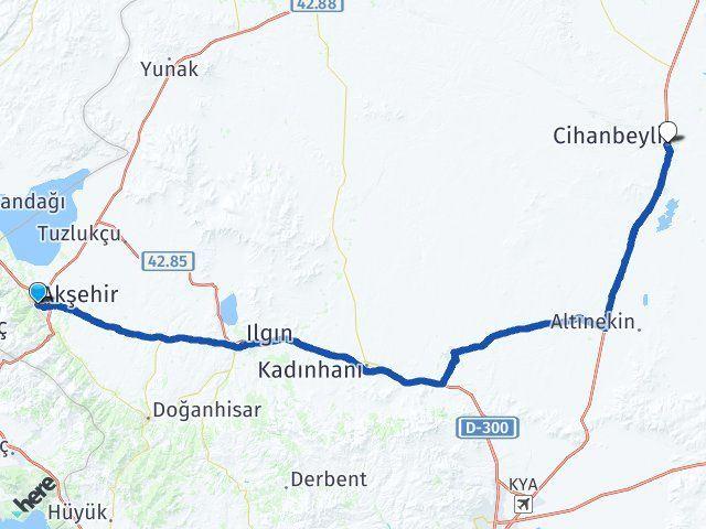 Konya Akşehir Cihanbeyli Arası Kaç Km? Arası Kaç Km Saat? Nerede Yol Haritası Yakıt, Rota ve Mesafe Hesaplama