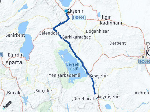 Konya Akşehir Seydişehir Arası Kaç Km? Arası Kaç Km Saat? Nerede Yol Haritası Yakıt, Rota ve Mesafe Hesaplama