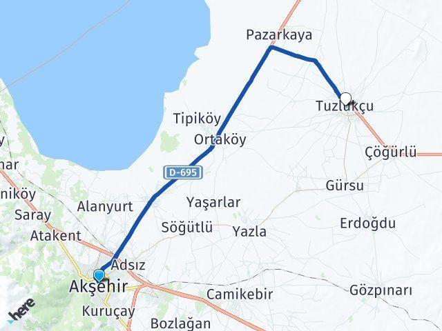 Konya Akşehir Tuzlukçu Arası Kaç Km? Arası Kaç Km Saat? Nerede Yol Haritası Yakıt, Rota ve Mesafe Hesaplama