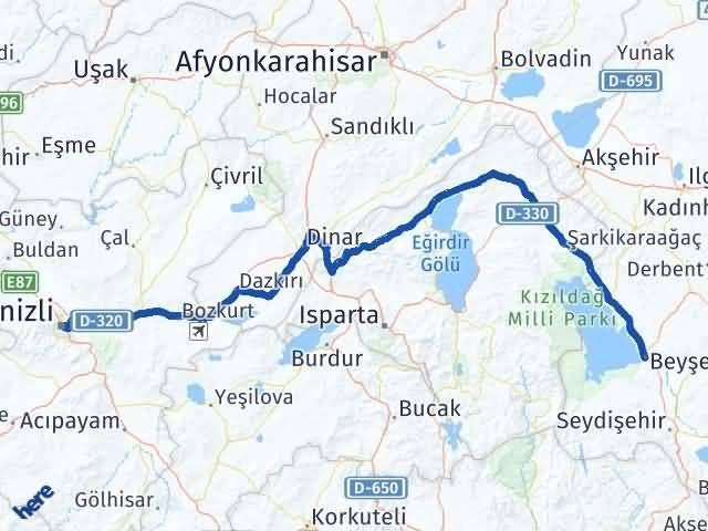 Konya Beyşehir   Denizli Arası Kaç Km? Arası Kaç Km Saat? Nerede Yol Haritası Yakıt, Rota ve Mesafe Hesaplama