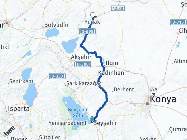 Konya Beyşehir Yunak Arası Kaç Km? Arası Kaç Km Saat? Nerede Yol Haritası Yakıt, Rota ve Mesafe Hesaplama
