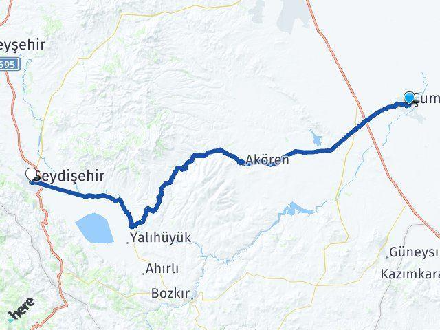 Konya Çumra Seydişehir Arası Kaç Km? Arası Kaç Km Saat? Nerede Yol Haritası Yakıt, Rota ve Mesafe Hesaplama