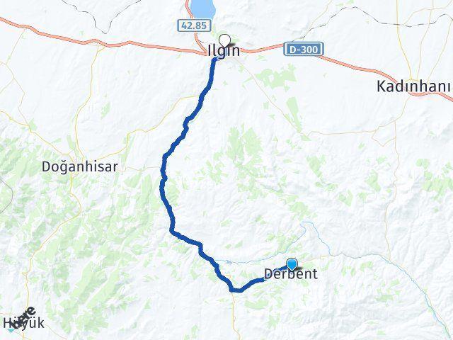 Konya Derbent Ilgın Arası Kaç Km? Arası Kaç Km Saat? Nerede Yol Haritası Yakıt, Rota ve Mesafe Hesaplama