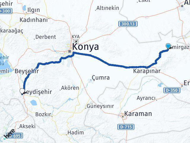 Konya Emirgazi Seydişehir Arası Kaç Km? Arası Kaç Km Saat? Nerede Yol Haritası Yakıt, Rota ve Mesafe Hesaplama