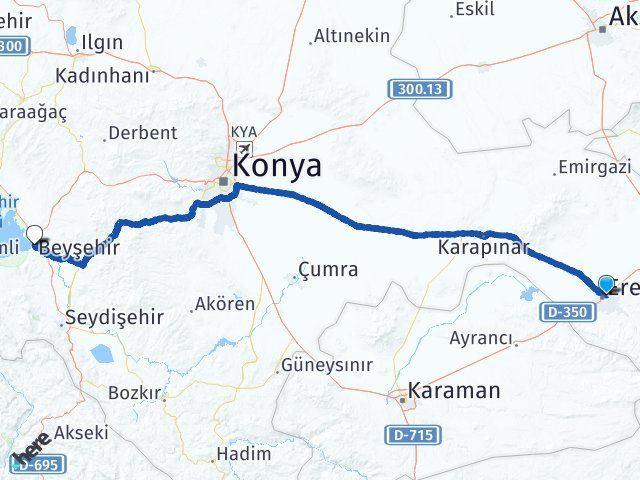 Ereğli Konya Beyşehir Arası Kaç Km? Arası Kaç Km Saat? Nerede Yol Haritası Yakıt, Rota ve Mesafe Hesaplama