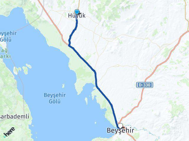 Konya Hüyük Beyşehir Arası Kaç Km? Arası Kaç Km Saat? Nerede Yol Haritası Yakıt, Rota ve Mesafe Hesaplama