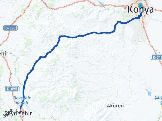 Konya Karatay Seydişehir Arası Kaç Km? Arası Kaç Km Saat? Nerede Yol Haritası Yakıt, Rota ve Mesafe Hesaplama