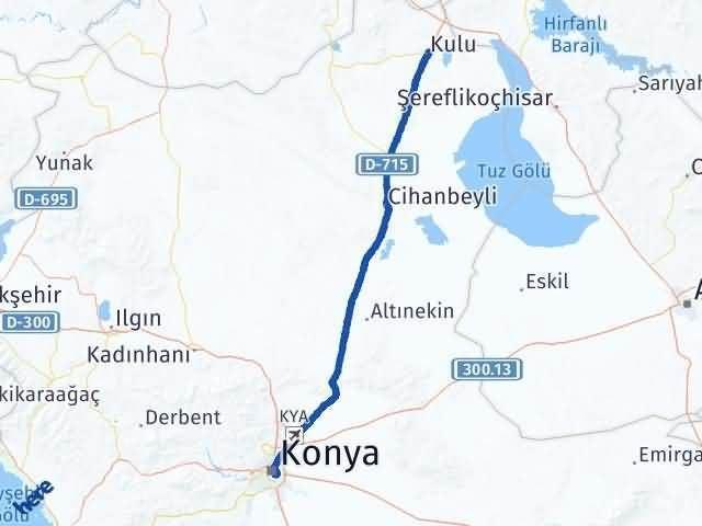 Konya Kulu Arası Kaç Km? Yol Haritası - Km Hesaplama Arası Kaç Km Saat? Nerede Yol Haritası Yakıt, Rota ve Mesafe Hesaplama
