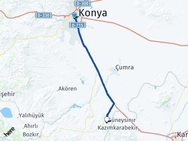 Konya Meram Güneysınır Arası Kaç Km? Arası Kaç Km Saat? Nerede Yol Haritası Yakıt, Rota ve Mesafe Hesaplama