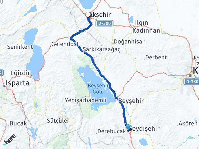Konya Seydişehir Akşehir Arası Kaç Km? Arası Kaç Km Saat? Nerede Yol Haritası Yakıt, Rota ve Mesafe Hesaplama