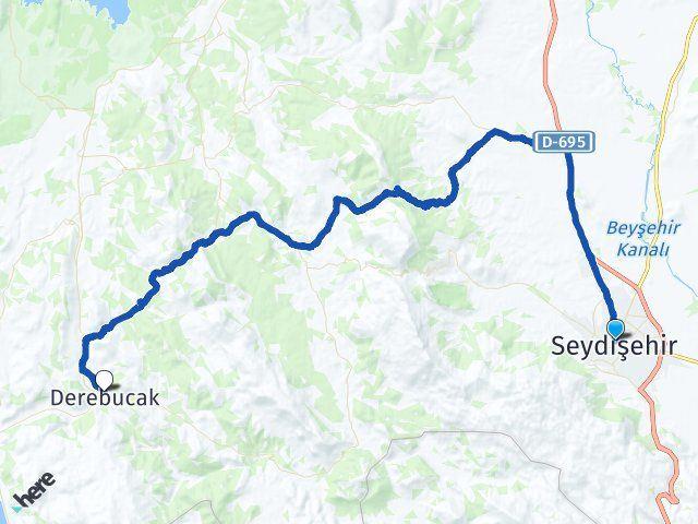 Konya Seydişehir Derebucak Arası Kaç Km? Arası Kaç Km Saat? Nerede Yol Haritası Yakıt, Rota ve Mesafe Hesaplama