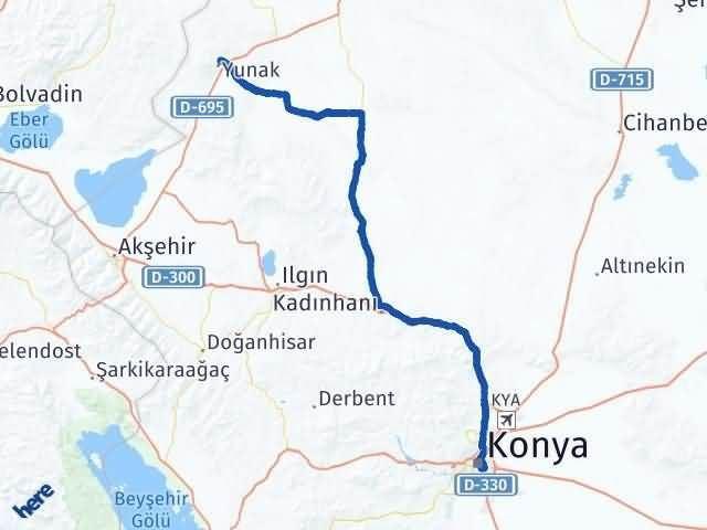 Konya Yunak Arası Kaç Km Arası Kaç Km Saat? Nerede Yol Haritası Yakıt, Rota ve Mesafe Hesaplama