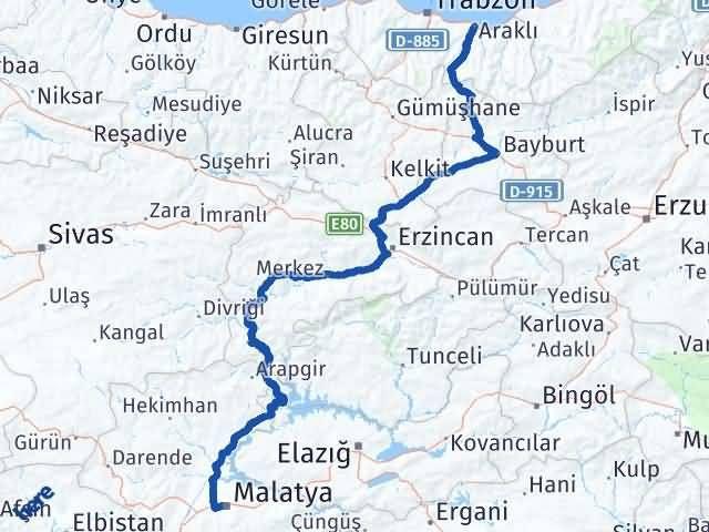 Malatya Araklı Trabzon Arası Kaç Km? - Kmhesaplama.com Arası Kaç Km Saat? Nerede Yol Haritası Yakıt, Rota ve Mesafe Hesaplama