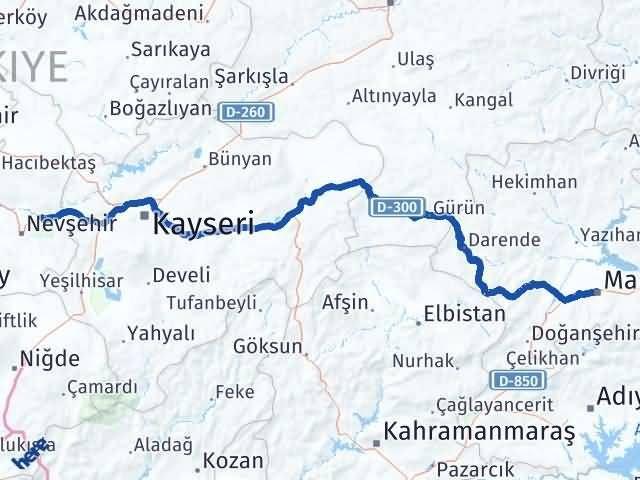 Malatya Avanos Nevşehir Arası Kaç Km? - Kmhesaplama.com Arası Kaç Km Saat? Nerede Yol Haritası Yakıt, Rota ve Mesafe Hesaplama