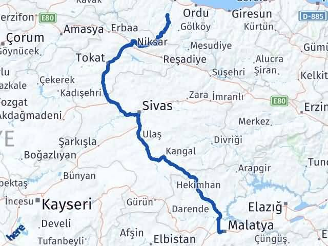 Malatya Çatalpınar Ordu Arası Kaç Km? - Kmhesaplama.com Arası Kaç Km Saat? Nerede Yol Haritası Yakıt, Rota ve Mesafe Hesaplama