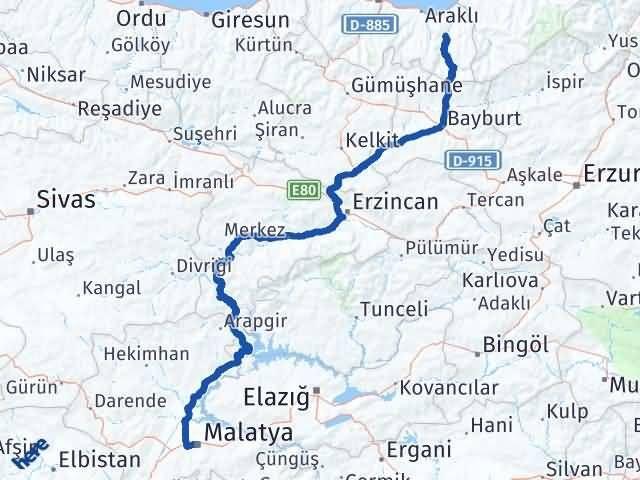 Malatya Dernekpazarı Trabzon Arası Kaç Km? Arası Kaç Km Saat? Nerede Yol Haritası Yakıt, Rota ve Mesafe Hesaplama