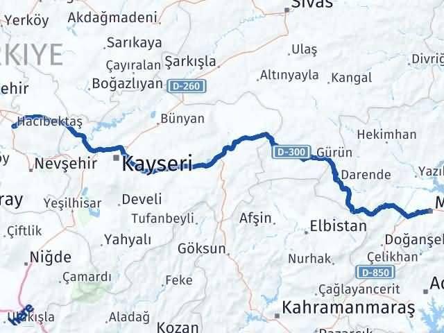 Malatya Hacıbektaş Nevşehir Arası Kaç Km? - Kmhesaplama.com Arası Kaç Km Saat? Nerede Yol Haritası Yakıt, Rota ve Mesafe Hesaplama